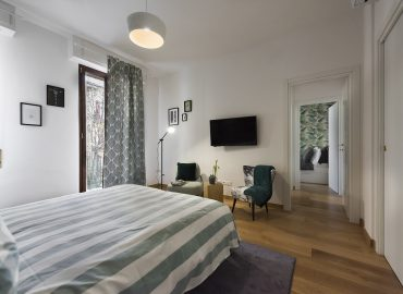 Interno camera verde del B&B Firenze per famiglie La Marmora 39