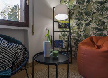 Puff e tavolino camera verde B&B Firenze per famiglie La Marmora 39