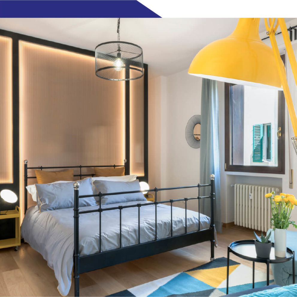 Interno camera Blu del bed and breakfast La Marmora 39 a Firenze